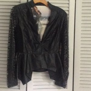 Black lamb leather jacket with studded sleeves